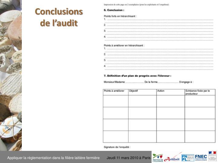 Conclusions de l'audit