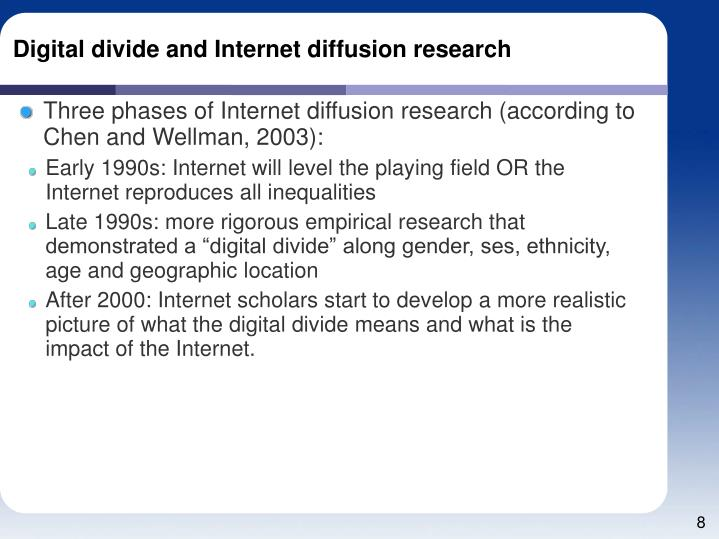 Digital divide and Internet diffusion research
