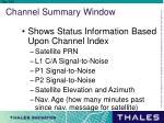 channel summary window