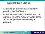 configuration menus continued