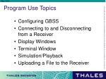 program use topics