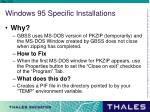 windows 95 specific installations