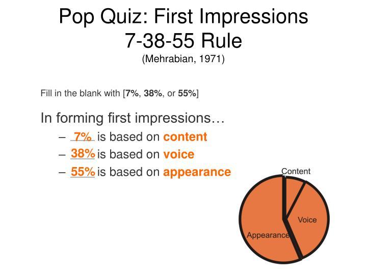Pop Quiz: First Impressions