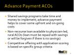 advance payment acos