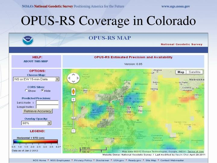 OPUS-RS Coverage in Colorado