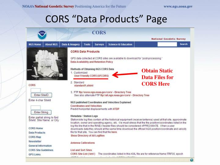 "CORS ""Data Products"" Page"