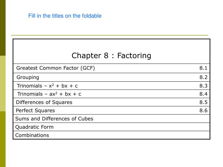 Ppt Chapter 8 Factoring Powerpoint Presentation Id4137902. 82 Greatest Mon Factor Top. Worksheet. Factoring Trinomials Of The Form Ax2 Bx C Worksheet Answers At Clickcart.co