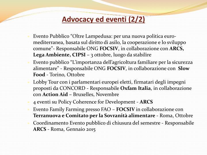 Advocacy ed eventi (2/2)