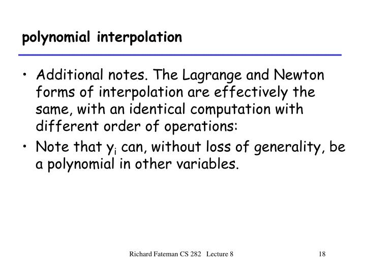 polynomial interpolation