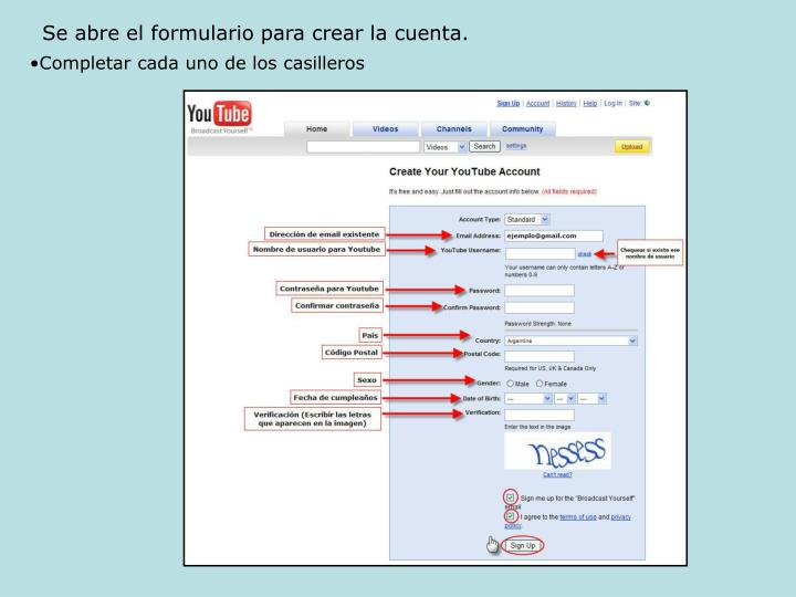 Se abre el formulario para crear la cuenta.