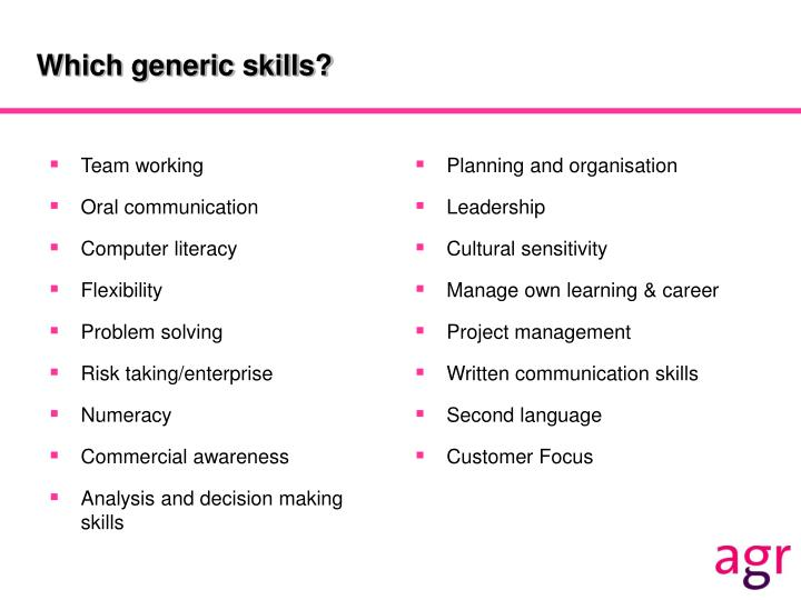 Which generic skills?