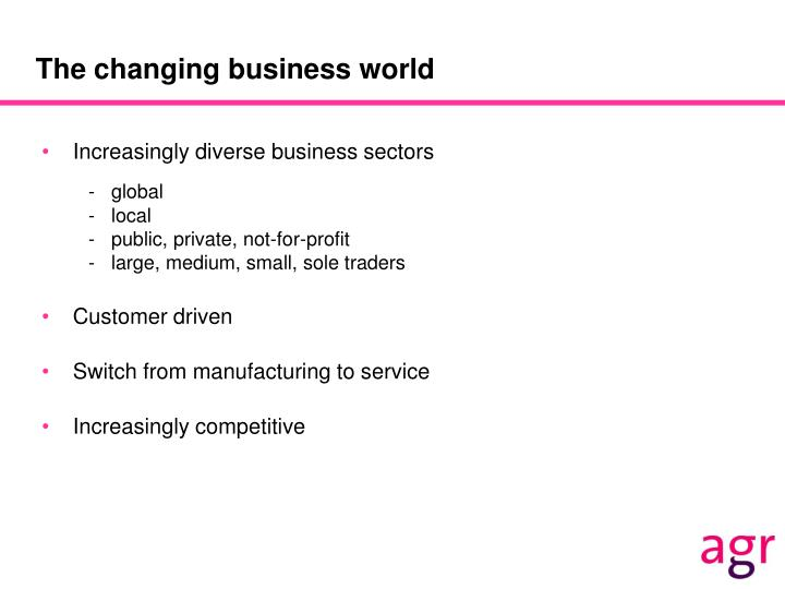 The changing business world