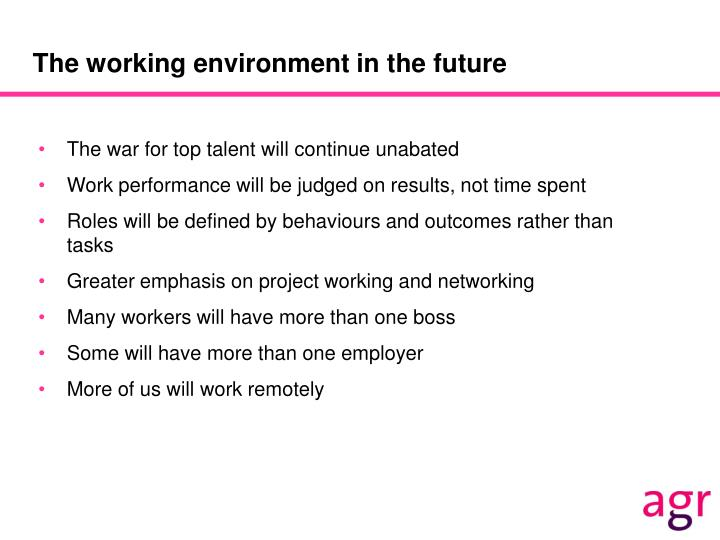 The working environment in the future