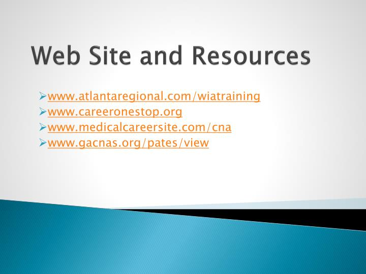 Web Site and Resources