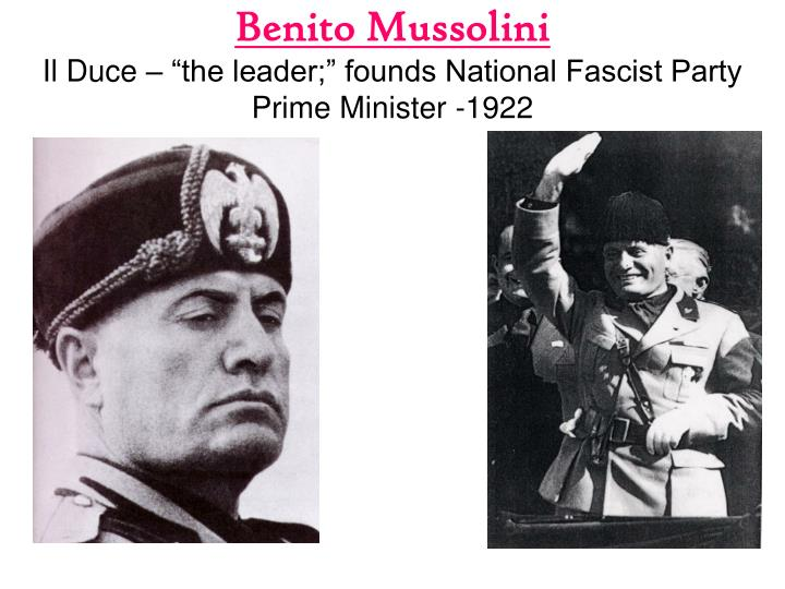 why did mussolini become prime minister in 1922 essay Benito mussolini served as italy's 40th prime minister from 1922 until 1943 he is considered a central figure in the creation of fascism and was both an influence on and close ally of adolf hitler during world war ii in 1943, mussolini was replaced as prime minister and served as the head of the.