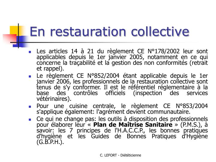Ppt securite alimentaire powerpoint presentation id for Restauration collective emploi