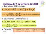 calcolo di y in termini di cod
