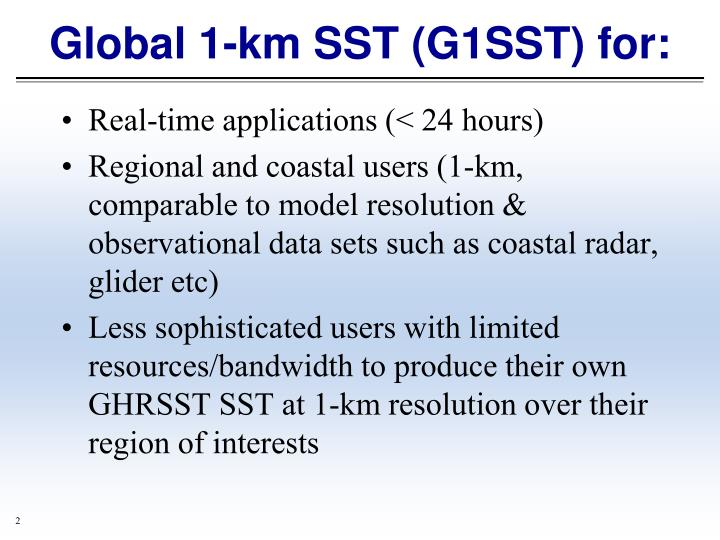 Global 1 km sst g1sst for