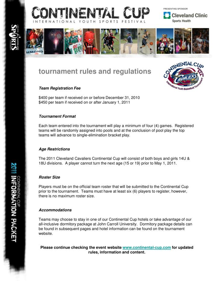 tournament rules and regulations