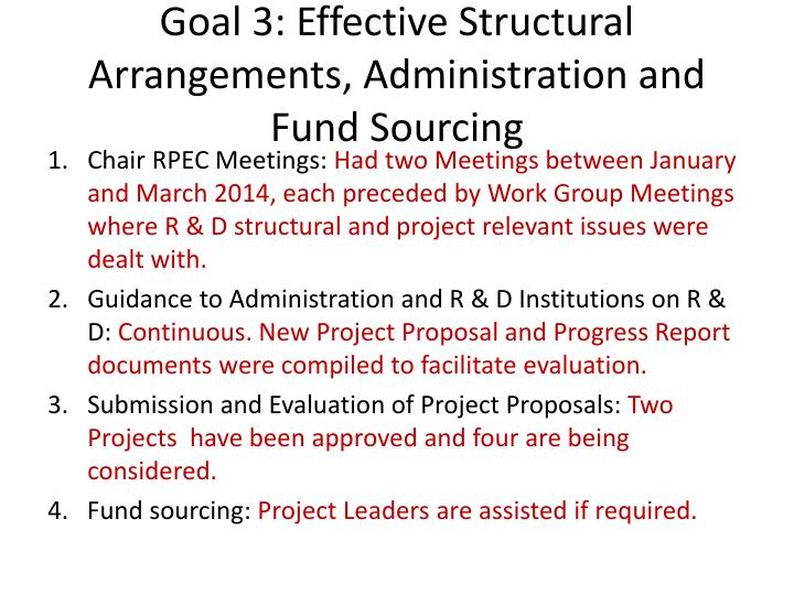 Goal 3: Effective Structural Arrangements, Administration and Fund Sourcing