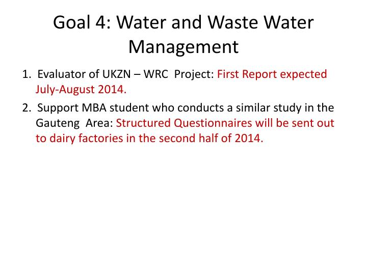 Goal 4: Water and Waste Water Management