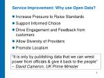 service improvement why use open data