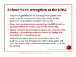 enforcement strengthen at the unsc
