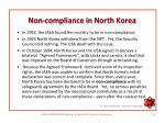 non compliance in north korea