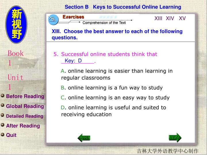 Section B   Keys to Successful Online Learning
