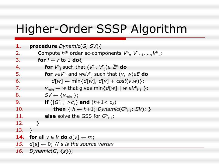 Higher-Order SSSP Algorithm