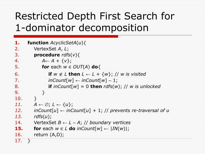 Restricted Depth First Search for