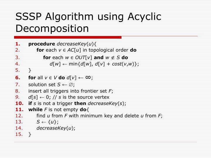 SSSP Algorithm using Acyclic Decomposition