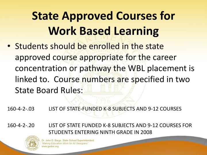 State Approved Courses for