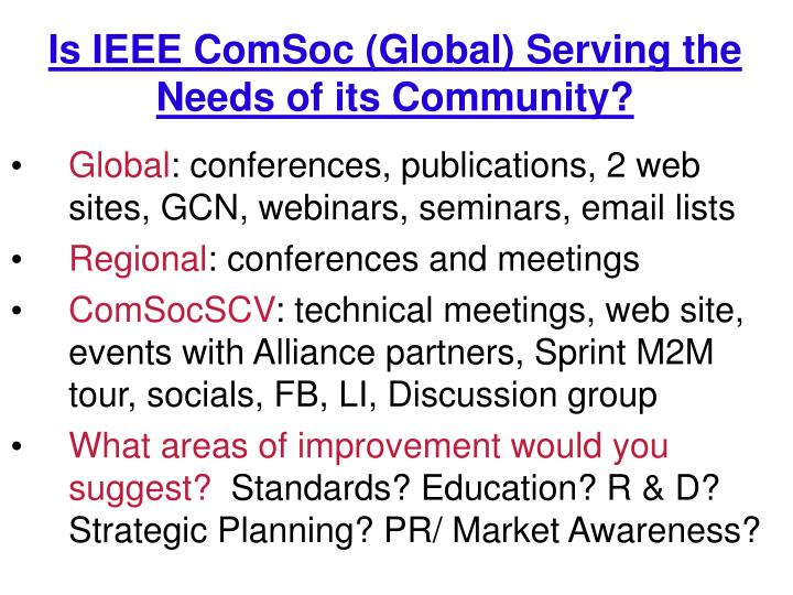 Is IEEE ComSoc (Global) Serving the Needs of its Community?