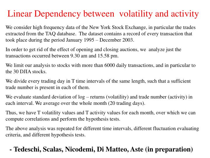 Linear Dependency between  volatility and activity