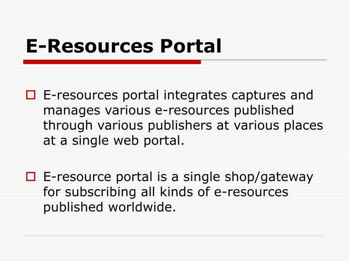 E resources portal