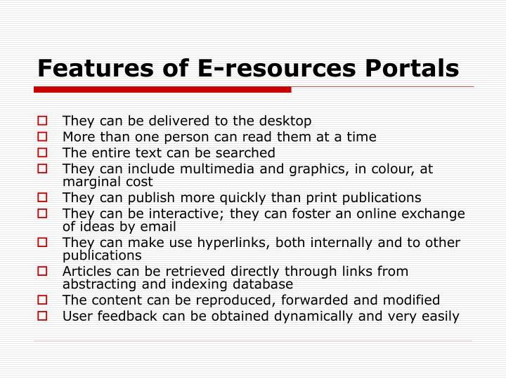 Features of E-resources Portals