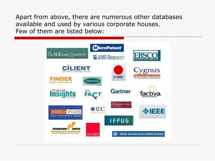 Apart from above, there are numerous other databases available and used by various corporate houses.