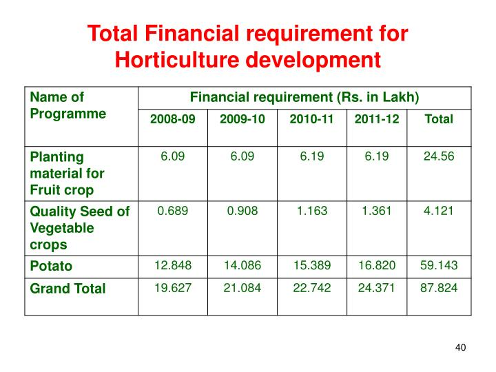 Total Financial requirement for Horticulture development