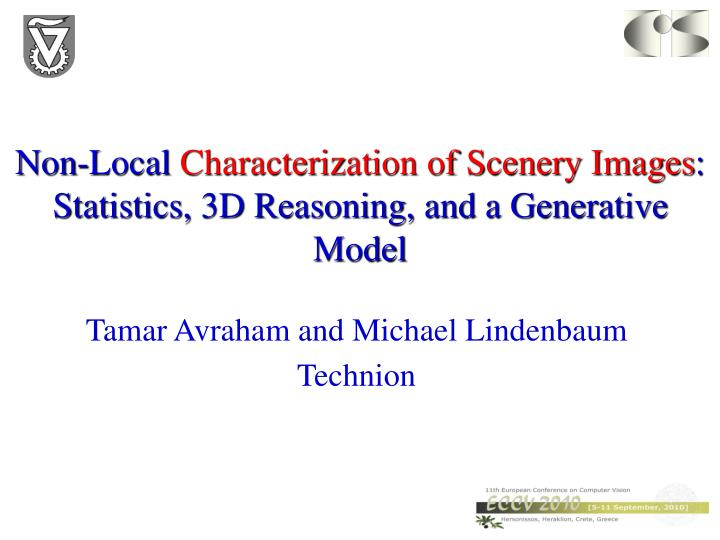 Non local characterization of scenery images statistics 3d reasoning and a generative model