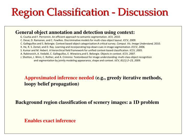Region Classification - Discussion