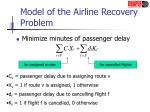 model of the airline recovery problem