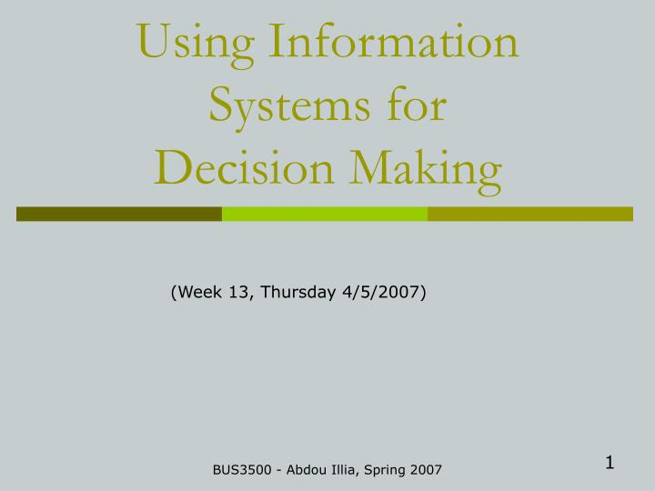 using information systems for decision making n.