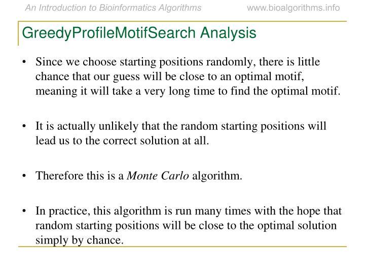 GreedyProfileMotifSearch Analysis