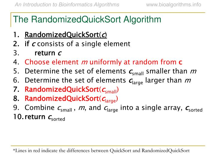 The RandomizedQuickSort Algorithm