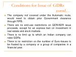 conditions for issue of gdrs contd