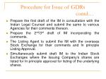 procedure for issue of gdrs contd