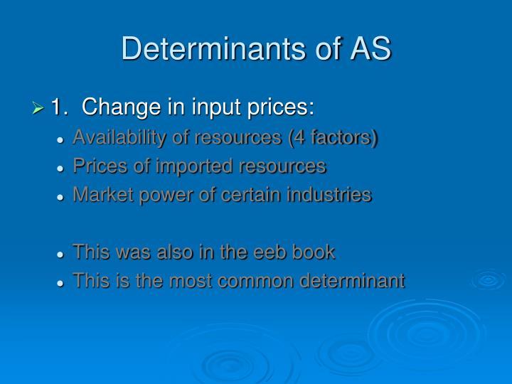 Determinants of AS