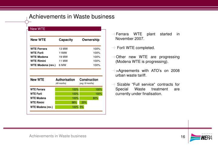Achievements in Waste business