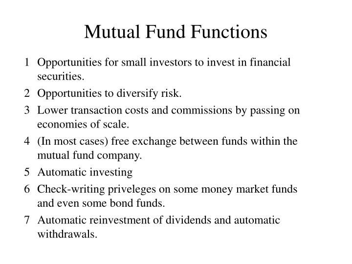 Mutual Fund Functions